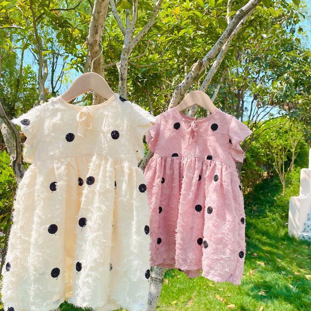 🔥童裝2021夏季女童中小童新款韓版繡花圓點連衣裙