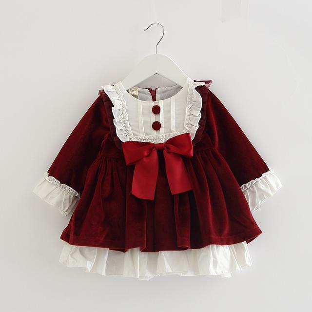 預購 女寶寶長袖西班牙風格宫廷風公主連衣裙(l)