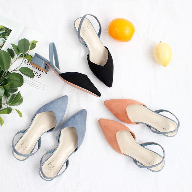 (預購)仙女風温柔撞色搭配簡约尖頭淺口後空單鞋(小)
