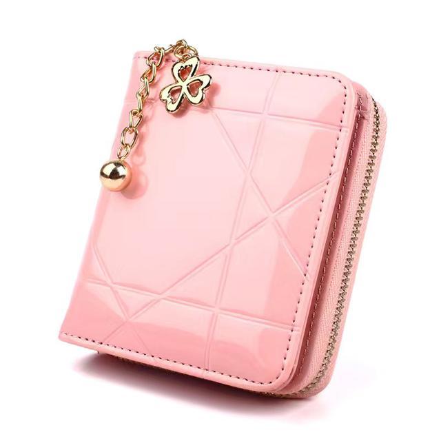 四合木三折零錢包女式拉鍊小卡包套短款漆皮手拿包硬幣包S898