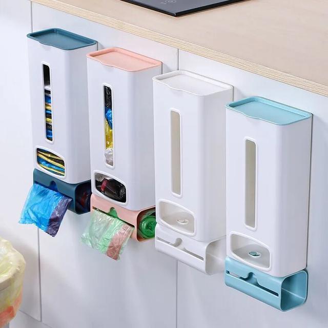 垃圾袋塑料袋收納盒免打孔壁掛式家用廚房衛生間大容量收納神器