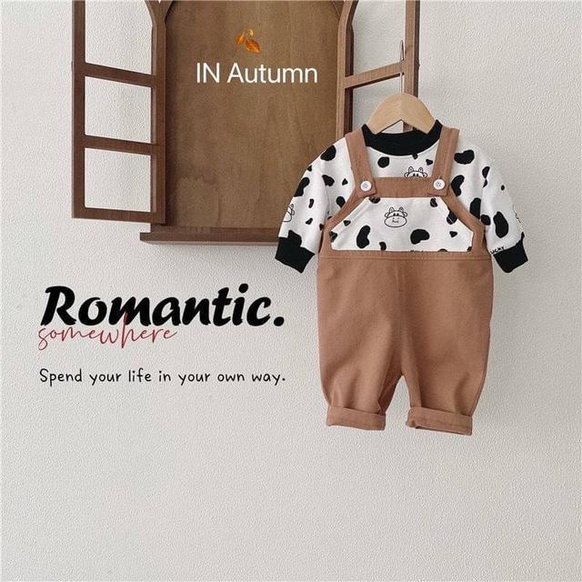 🔹卡通奶牛長袖背帶褲兩件套 童裝