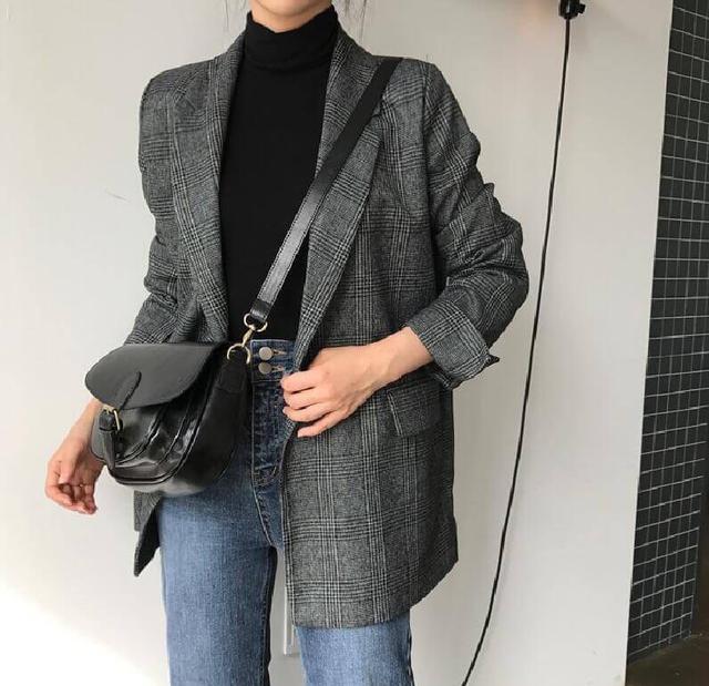 韓國帥氣俐落翻領格紋西裝外套