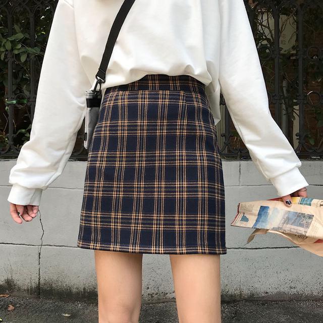 韓版格子百搭顯瘦高腰短款學生A字短裙