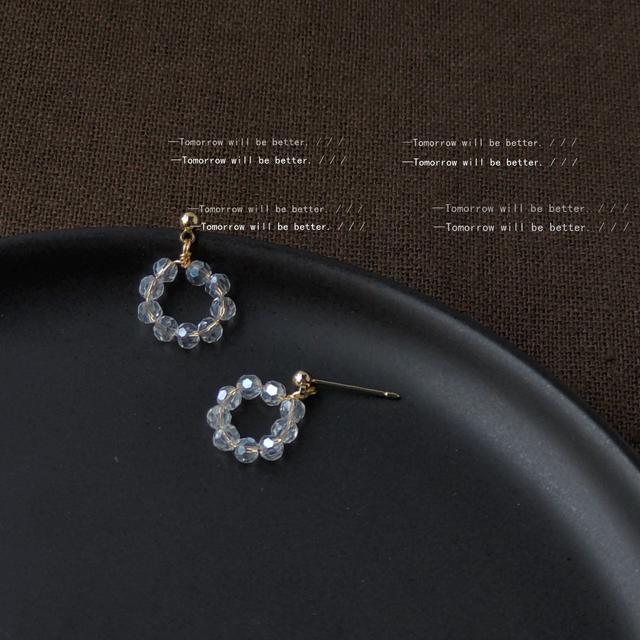 凡爾賽耳釘925銀針鍍14K真金玻璃五彩水晶手工小清新水滴IG耳環