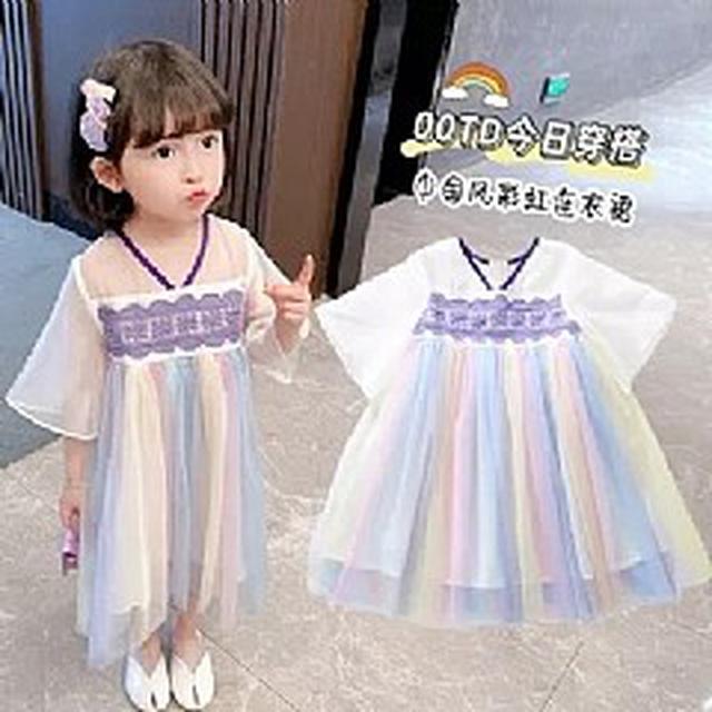 優質小童裝 復古彩虹拼紗漢服連衣裙