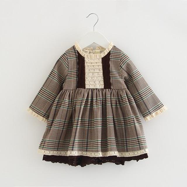 預購-D9316童装女寶寶兒童格子長袖百搭A字裙子連衣裙