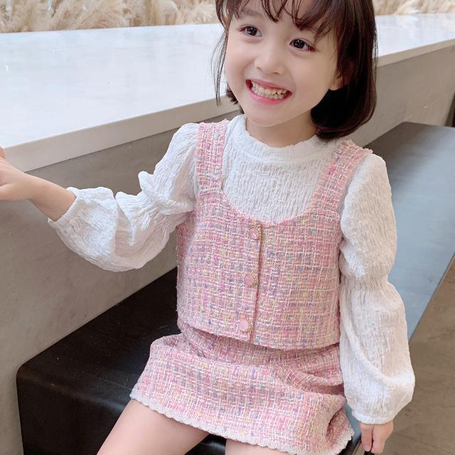 女童套裝2020秋裝新款兒童洋氣馬甲上衣女寶小香風半身短裙三件套