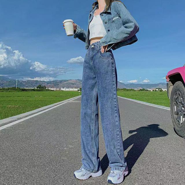 交叉腰牛仔褲