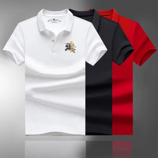 BK 巴宝莉男士翻领短袖T恤polo衫2021夏季新款中青年男装修身潮流
