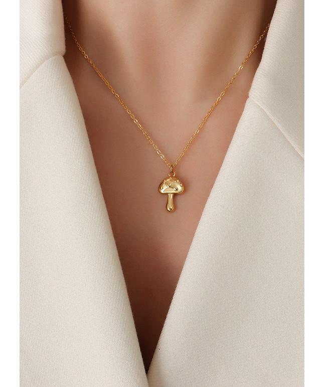 法式IG小飾品小眾項鏈復古小蘑菇吊墜鎖骨頸鏈鈦鋼鍍18K真金女