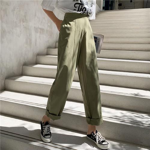 B 12/11 S-M 全棉高腰淺綠色工裝闊腿卷邊九分褲