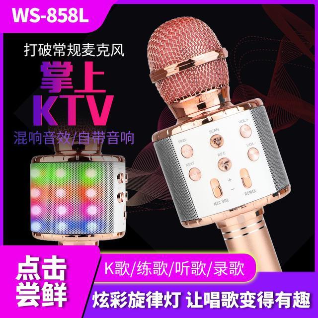 厂家直销858L麦克风带灯话筒 自带音响k歌宝蓝牙无线电容麦克风