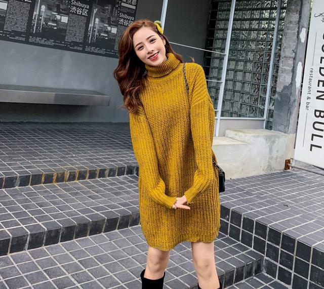 11 韓國 高領中長款粗毛線毛衣(2色)