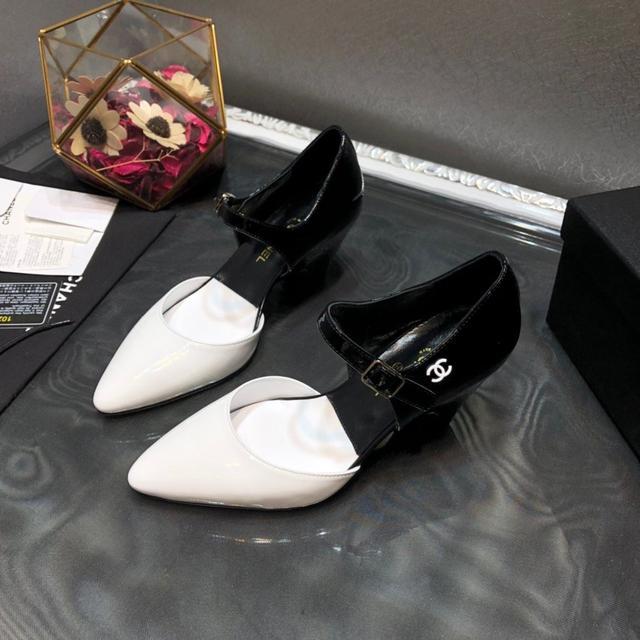 Chanel香奈儿2020早春秀款高跟撞色漆皮尖头淑女鞋 顶级版本.正品1🆚1复刻.原版楦型+编码
