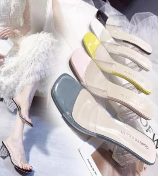 # 預購 夏季韓版透明壹字帶水晶粗跟拖鞋