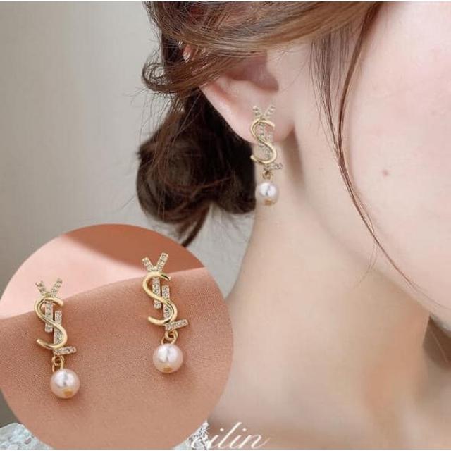#預購H232 - 韓國925銀針YSL珍珠耳環