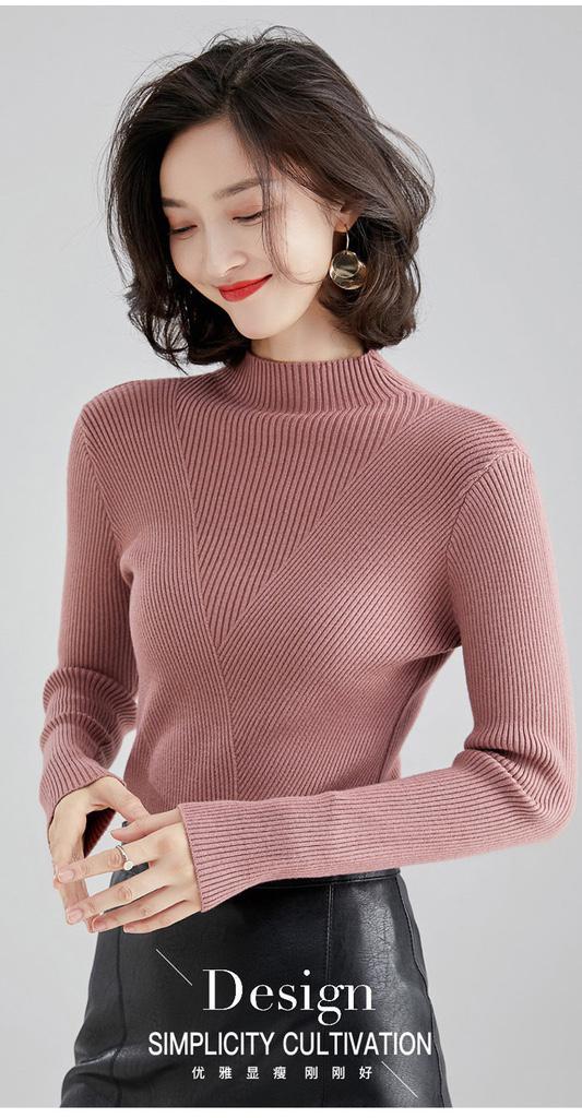 半高領秋冬顯瘦女生針織衫毛衣/打底衫新款女裝修身百搭上衣
