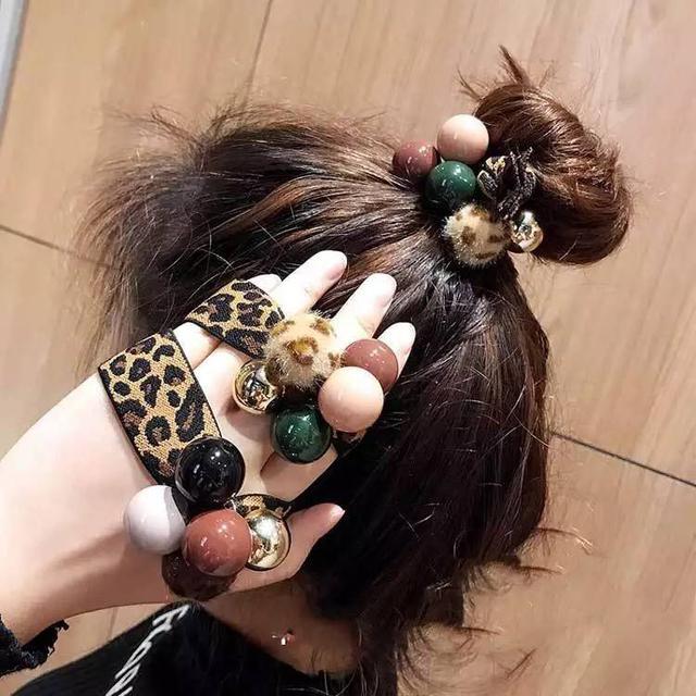韓國豹紋配色珠珠綁髮