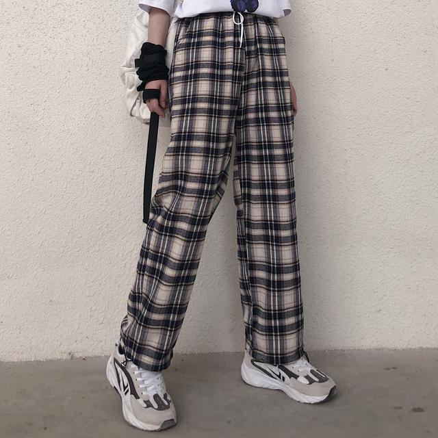 0617 M-XL 男女款 原宿風格子休閒直筒闊腿褲