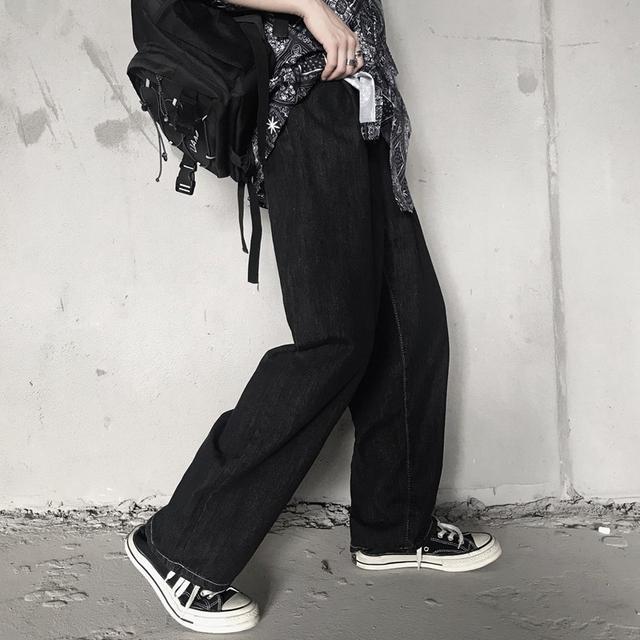 0617 M-XL 男女款 暗黑系水洗復古闊腿牛仔褲