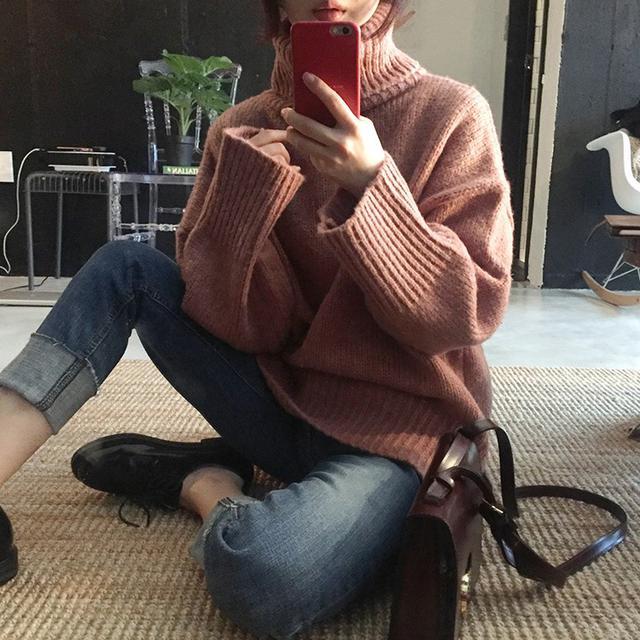 B 12/10 高領保暖仿兔毛加厚毛衣(3色)