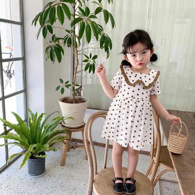 🔥中小童 2021夏新款嬰童女寶卡哇伊卡其圓點連衣裙