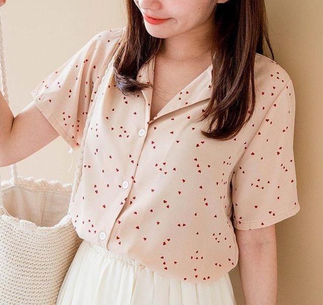 【零售現貨】🧡夏季韓版翻領排扣雪紡短襯衫🧡