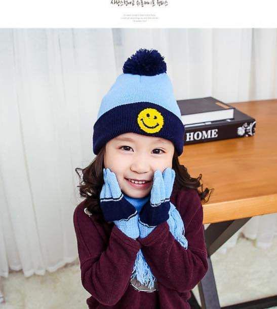 (預購S) 兒童笑臉針織保暖圍巾毛帽手套三件組