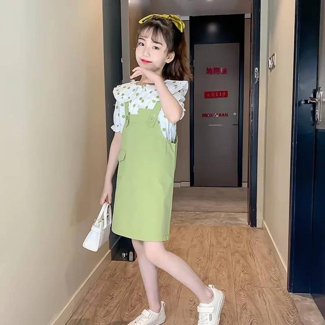 女童套裝裙2020新款夏裝洋氣童裝兒童圓點短袖背帶裙子兩件套批發