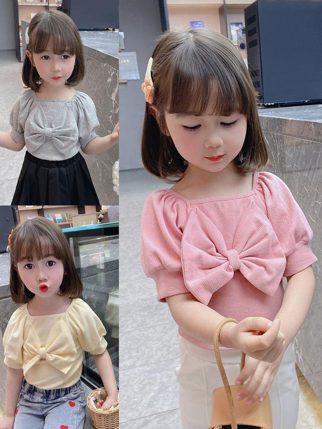 女寶寶甜美短袖T恤蝴蝶結淑女短袖上衣2021夏季新款韓版時尚T恤衫
