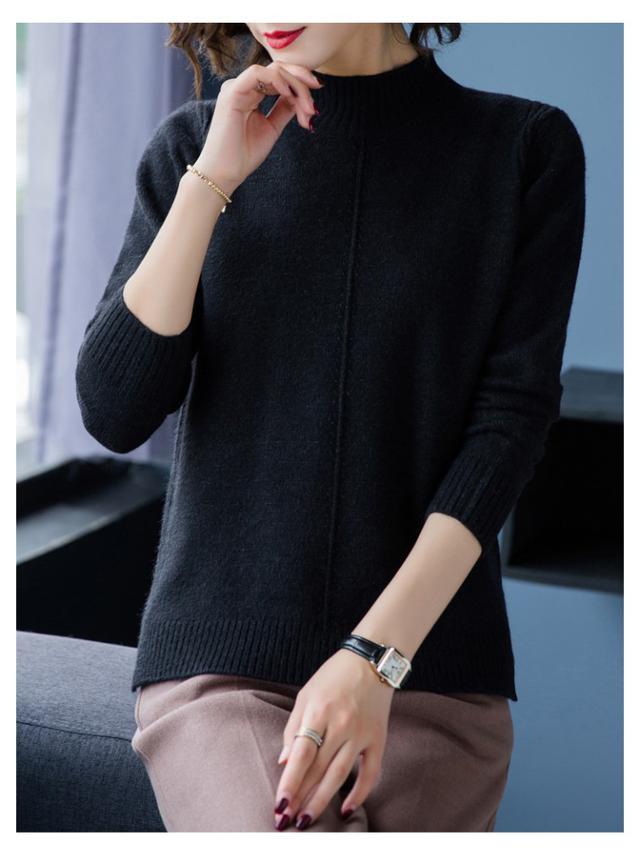 11 2019秋冬開叉毛衣氣質打底針織衫