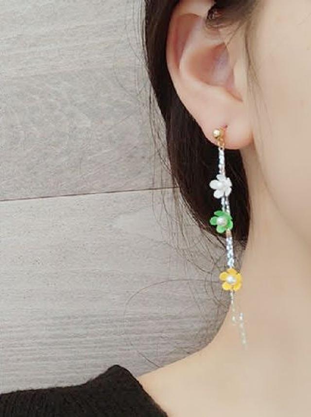 🌟現貨🌟正韓S925銀小清新三色花朵流蘇耳環