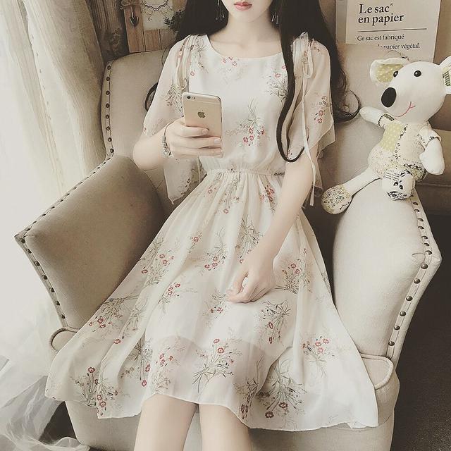 小清新荷葉邊圓領系帶鬆緊腰艺文甜美淑女雪紡連衣裙女夏季新款