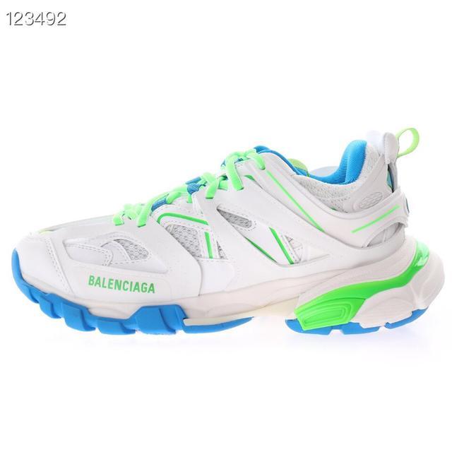 高奢品牌-巴黎世家3.0代復古野跑姥爹潮流百搭慢跑鞋「白天藍螢光綠」