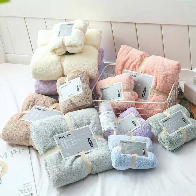 珊瑚絨浴巾+毛巾