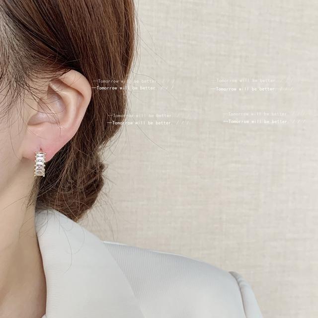 高級感鋯石耳扣鍍14K日韓ins簡約冷淡風耳飾女氣質耳環
