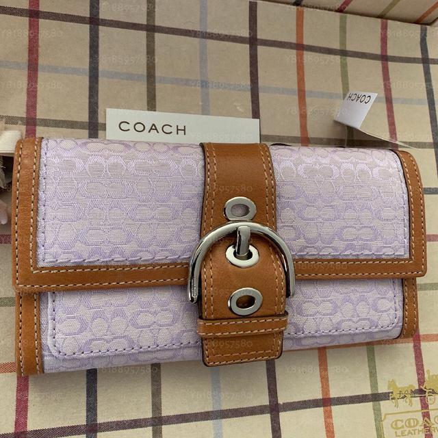 全新真品 Coach 41516 淺紫色小C長夾