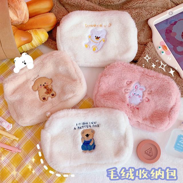 ✨ins日韓卡通小熊刺繡毛絨收納包化妝包✨