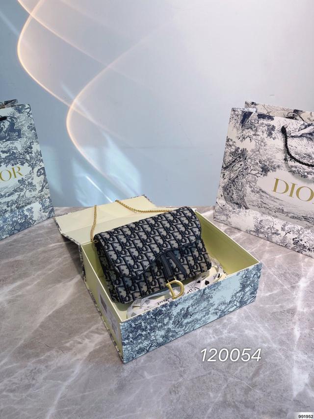 Dior woc 鏈條包,迪奧簡潔的老花刺繡線條120054