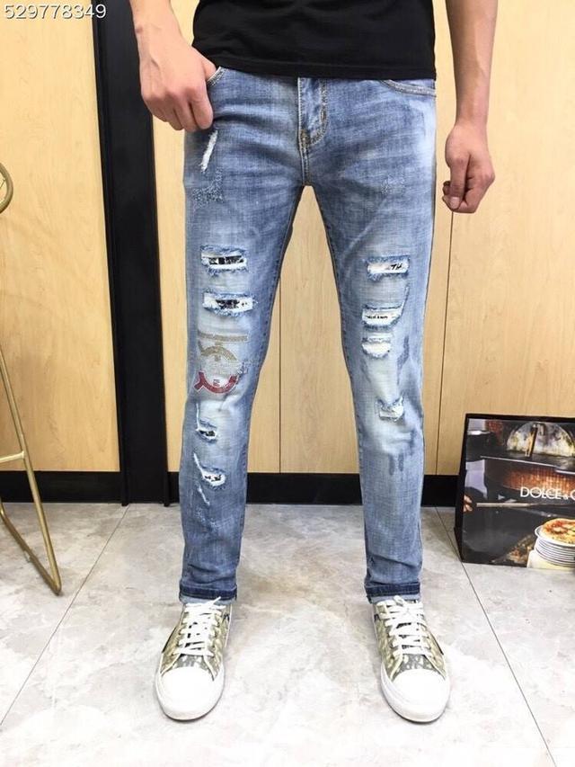 【精品牛仔長褲】 Burberry牛仔長褲褲 巴寶莉小腳彈力潮牌刺繡牛仔褲