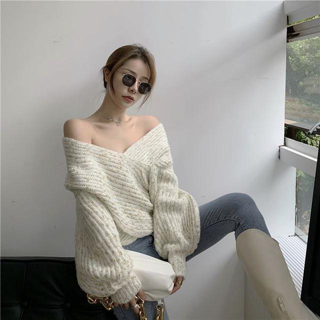 寬鬆慵懶風針織衫上衣小眾設計感燈籠袖性感交叉v領毛衣