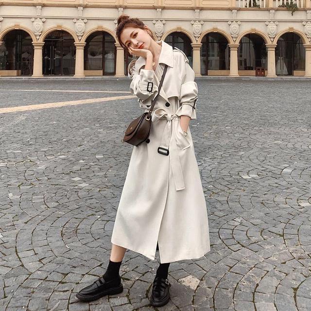 有里布高品質風衣女中長款2020秋季新款韓版英倫風過膝大衣外套