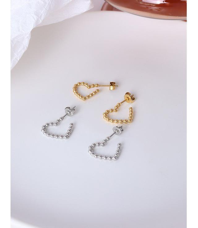 法式簡約不規則形狀別致愛心風格耳環耳釘鈦鋼鍍18k真金耳飾