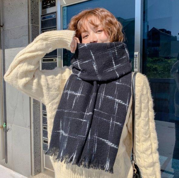 韓版金絲小香風仿羊絨圍巾