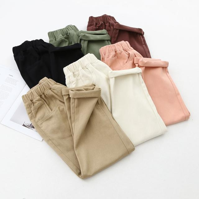 預購/米色鬆緊高腰寬鬆大碼哈倫裤(H)
