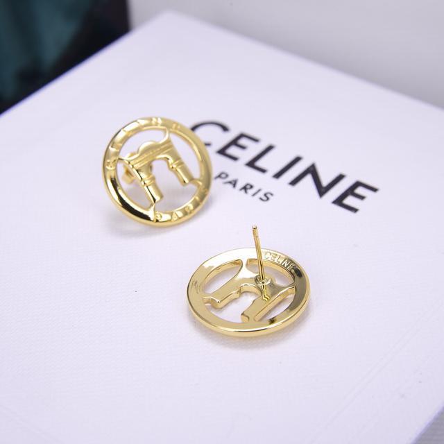 Celine 新款金色凯旋门圆形耳钉
