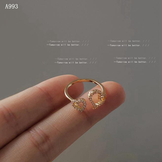 鏤空愛心鋯石開口戒指 日韓設計感法式氣質時尚IG設計食指戒