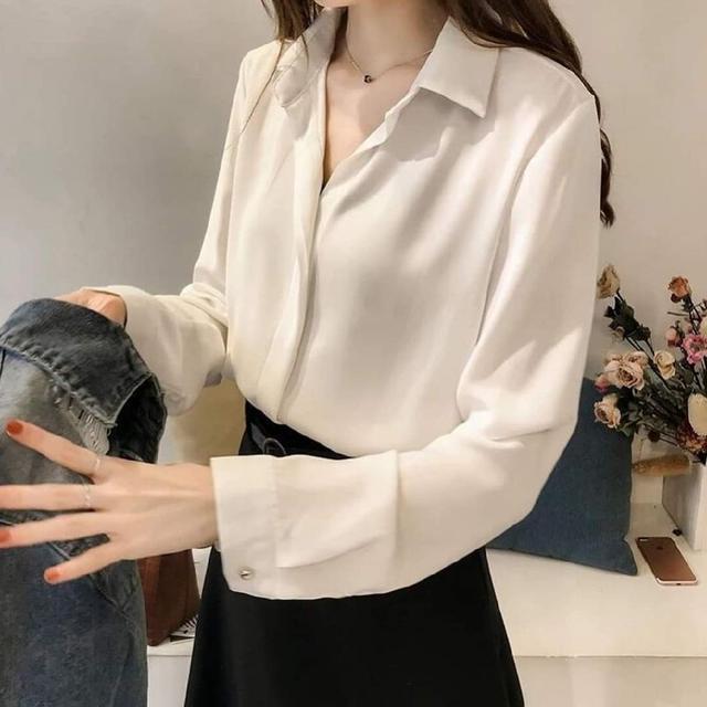 (預購s+) D080-韓版氣質簡約OL雪紡襯衫
