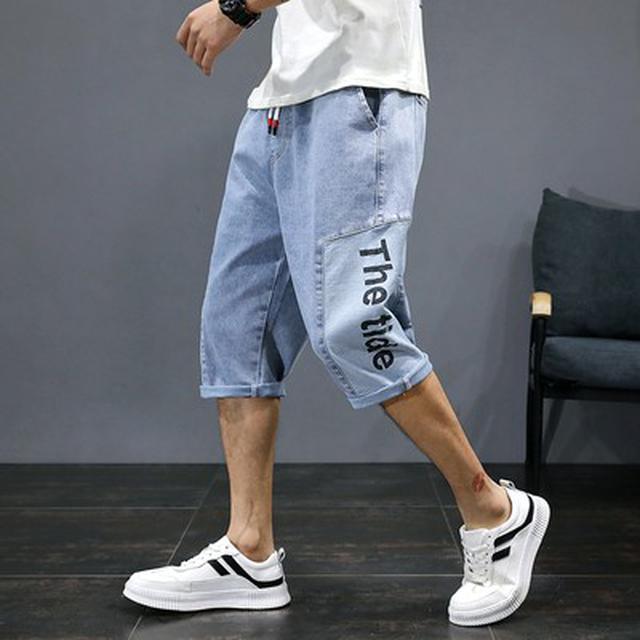 M~5XL 優質休閒棉彈牛仔布七分牛仔褲(2色)